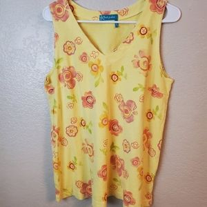 Fresh Produce yellow floral sleeveless summer top